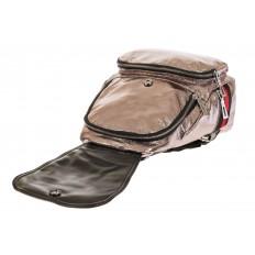 На фото 4 - Светло-бронзовый рюкзак из искусственной кожи грушевидной формы