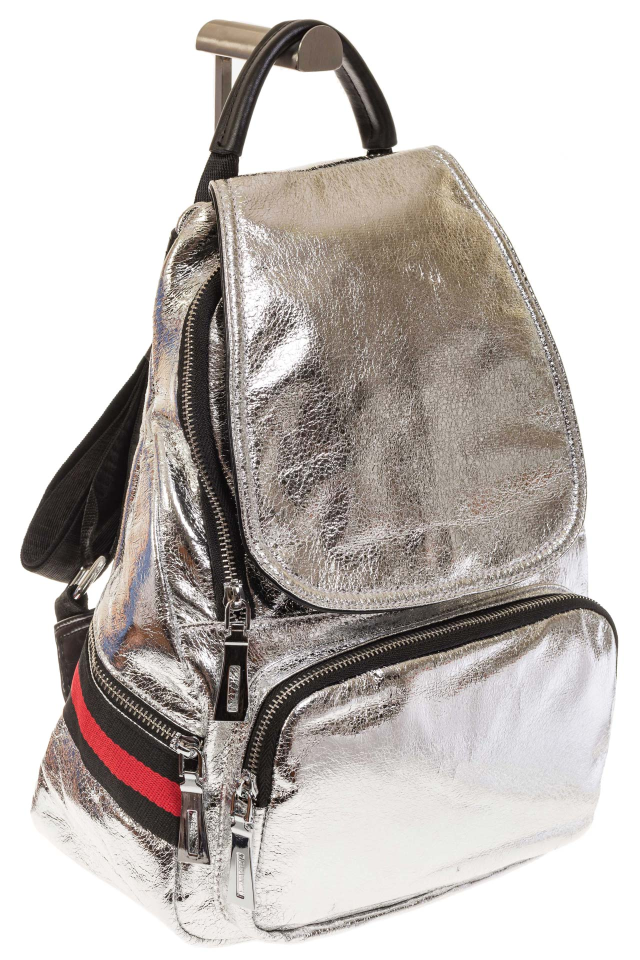 На фото 1 - Серебристый рюкзак из искусственной кожи грушевидной формы