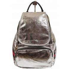 На фото 2 - Серебристый рюкзак из искусственной кожи грушевидной формы