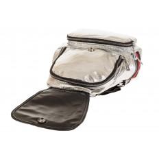 На фото 4 - Серебристый рюкзак из искусственной кожи грушевидной формы
