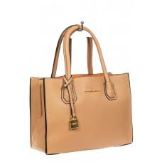 На фото 1 - Женская сумка из искусственной кожи, бежевая