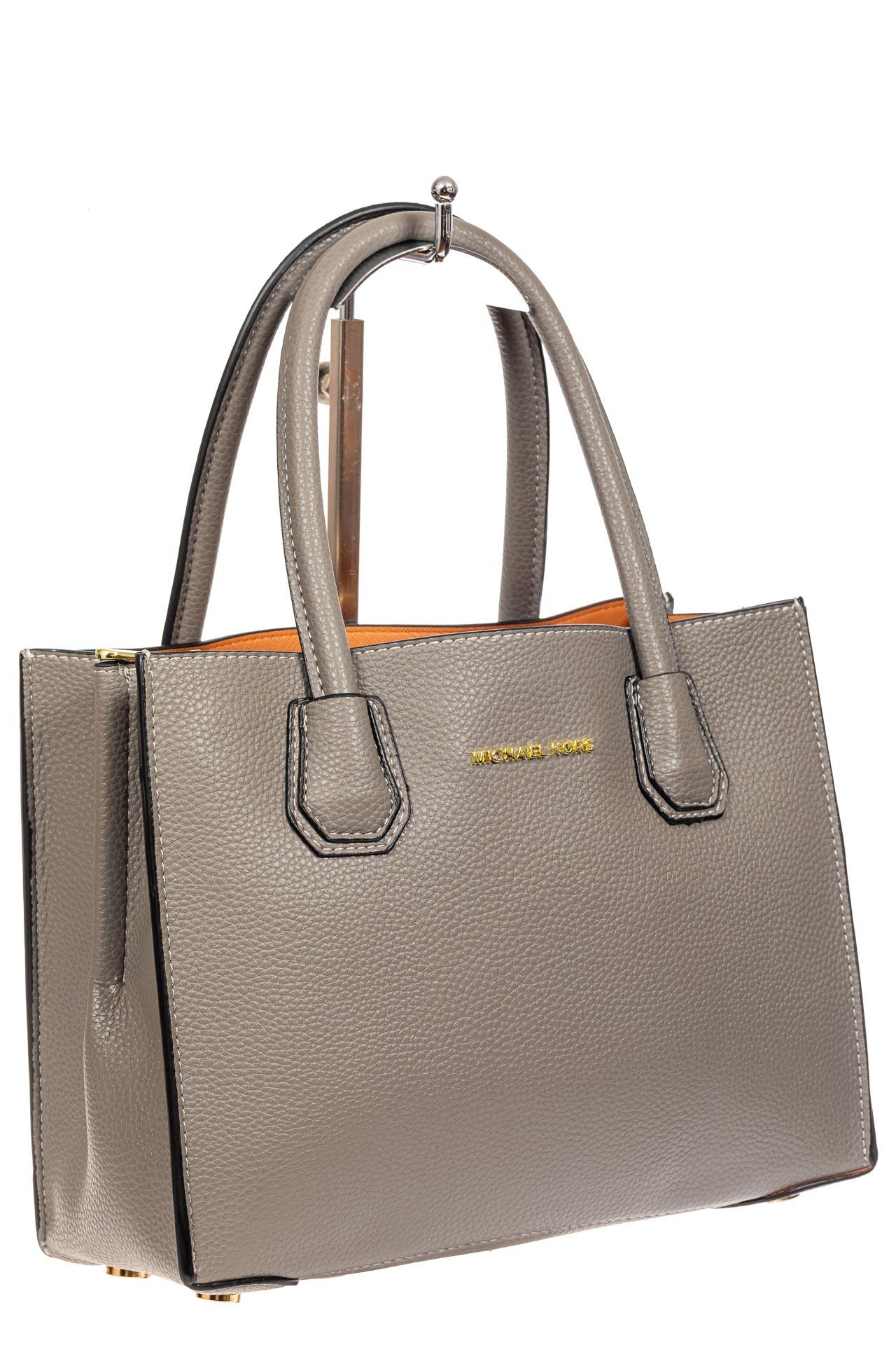 На фото 1 - Женская сумка из искусственной кожи, серая