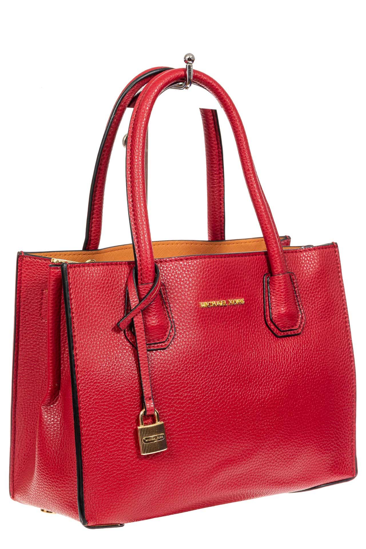 На фото 1 - Женская сумка из искусственной кожи, красная