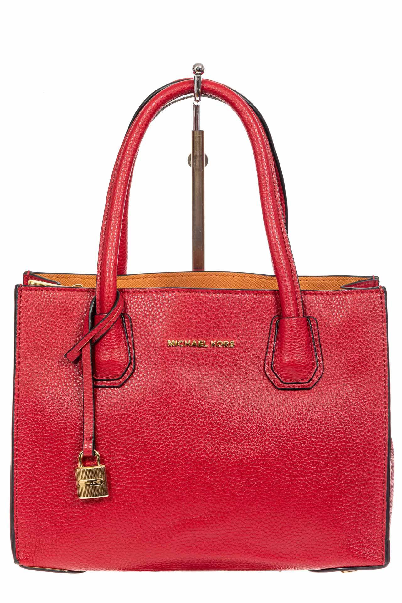 На фото 2 - Женская сумка из искусственной кожи, красная