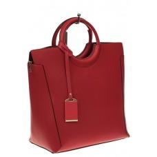 На фото 1 - Красная сумка с ручками-кольцами из искусственной кожи