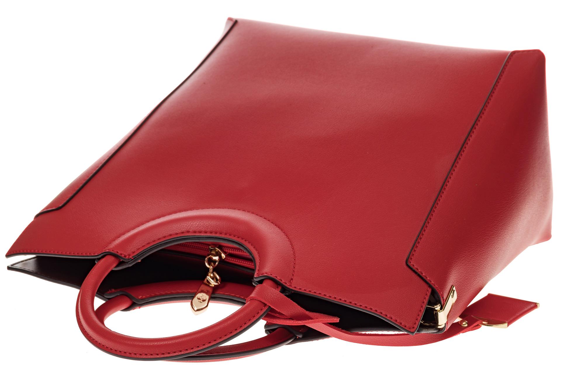 На фото 4 - Красная сумка с ручками-кольцами из искусственной кожи