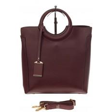 На фото 2 - Бордовая сумка с ручками-кольцами из искусственной кожи