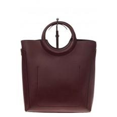 На фото 3 - Бордовая сумка с ручками-кольцами из искусственной кожи