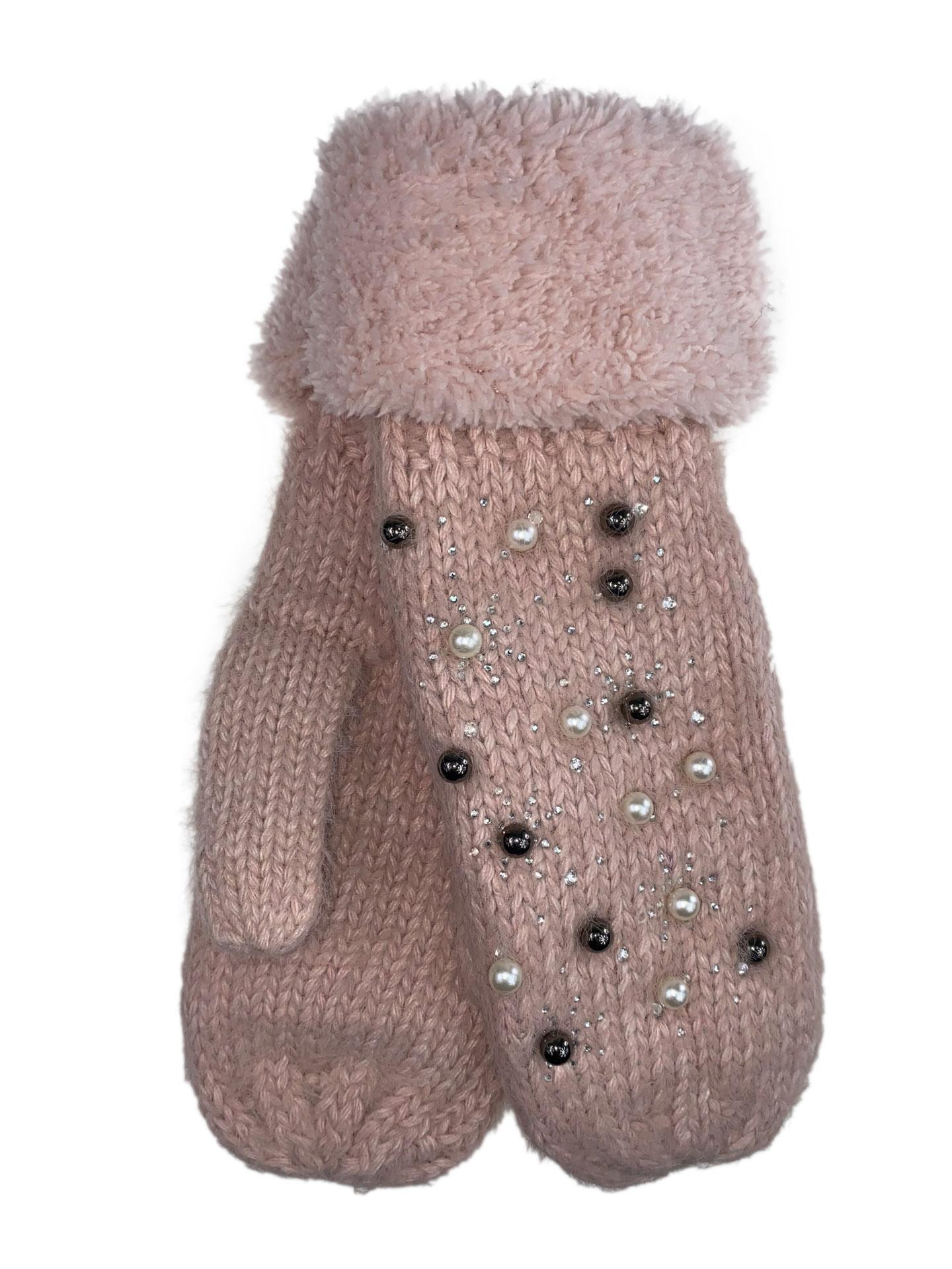 Женские утеплённые варежки из шерсти и акрила с украшением, цвет розовый16800VP1220/16