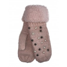 На фото 1 - Женские утеплённые варежки из шерсти и акрила с украшением, цвет розовый