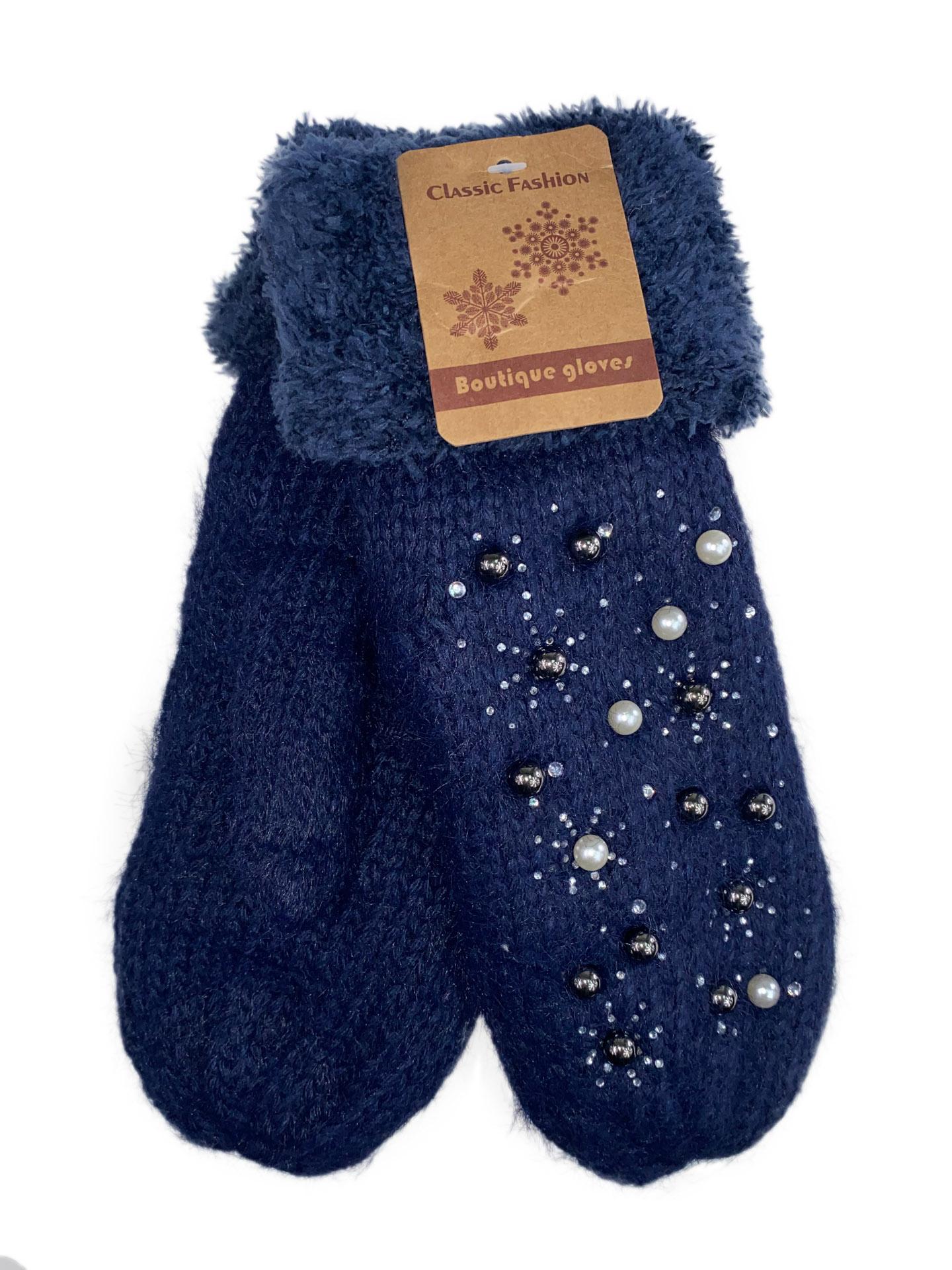 Женские утеплённые варежки из шерсти и акрила с украшением, цвет синий16800VP1220/2