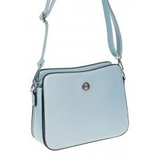 На фото 1 - Каркасная сумочка кросс-боди из искусственной кожи, цвет светло-голубой