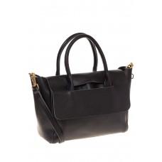 на фото Мягкая сумка из натуральной кожи черного цвета 168SMK5