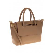 на фото Мягкая сумка из натуральной кожи бежевого оттенка 168SMK5