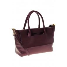 на фото Мягкая сумка из натуральной кожи фиолетового оттенка 168SMK5