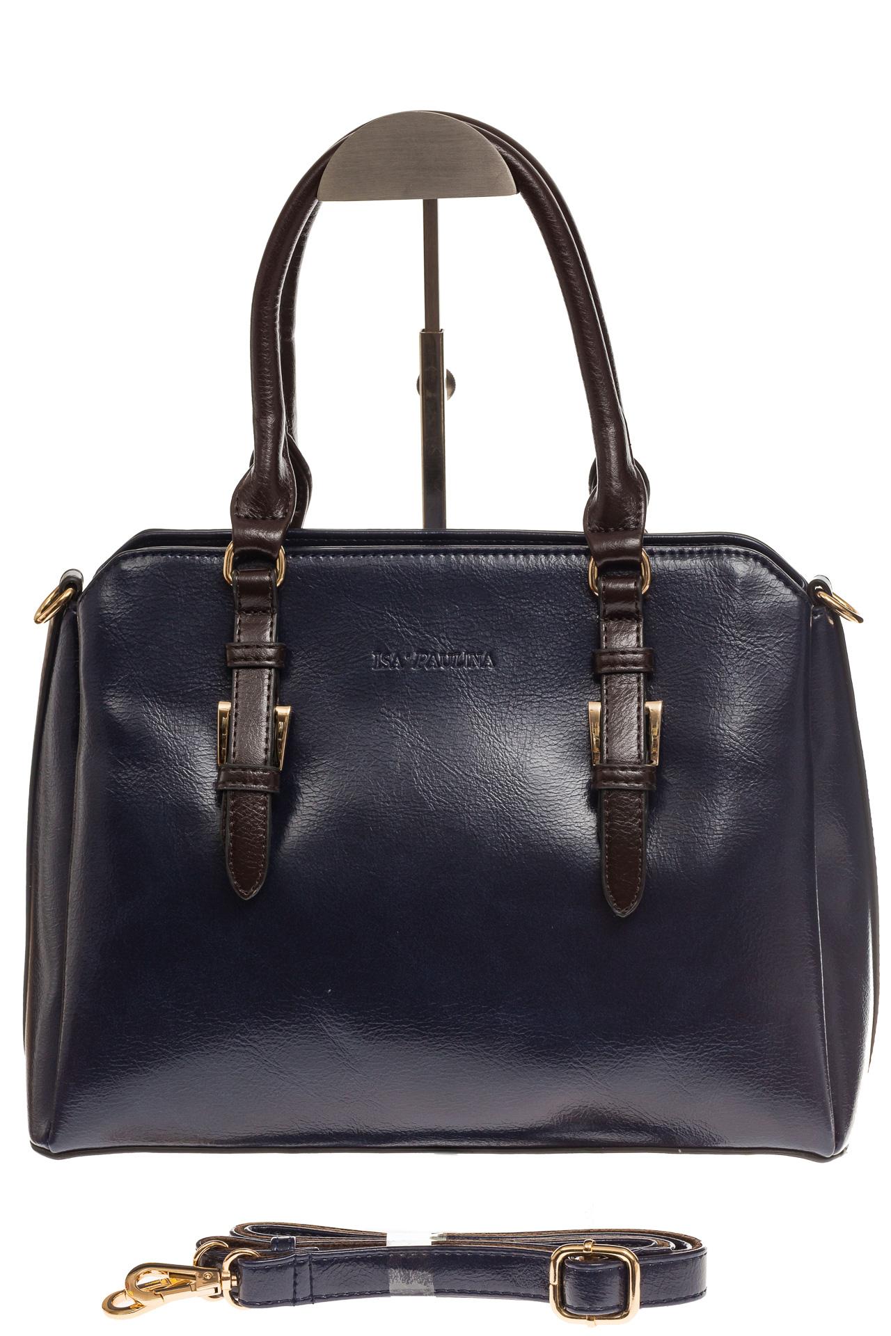На фото 2 - Строгая женская сумка из искусственной кожи, цвет синий