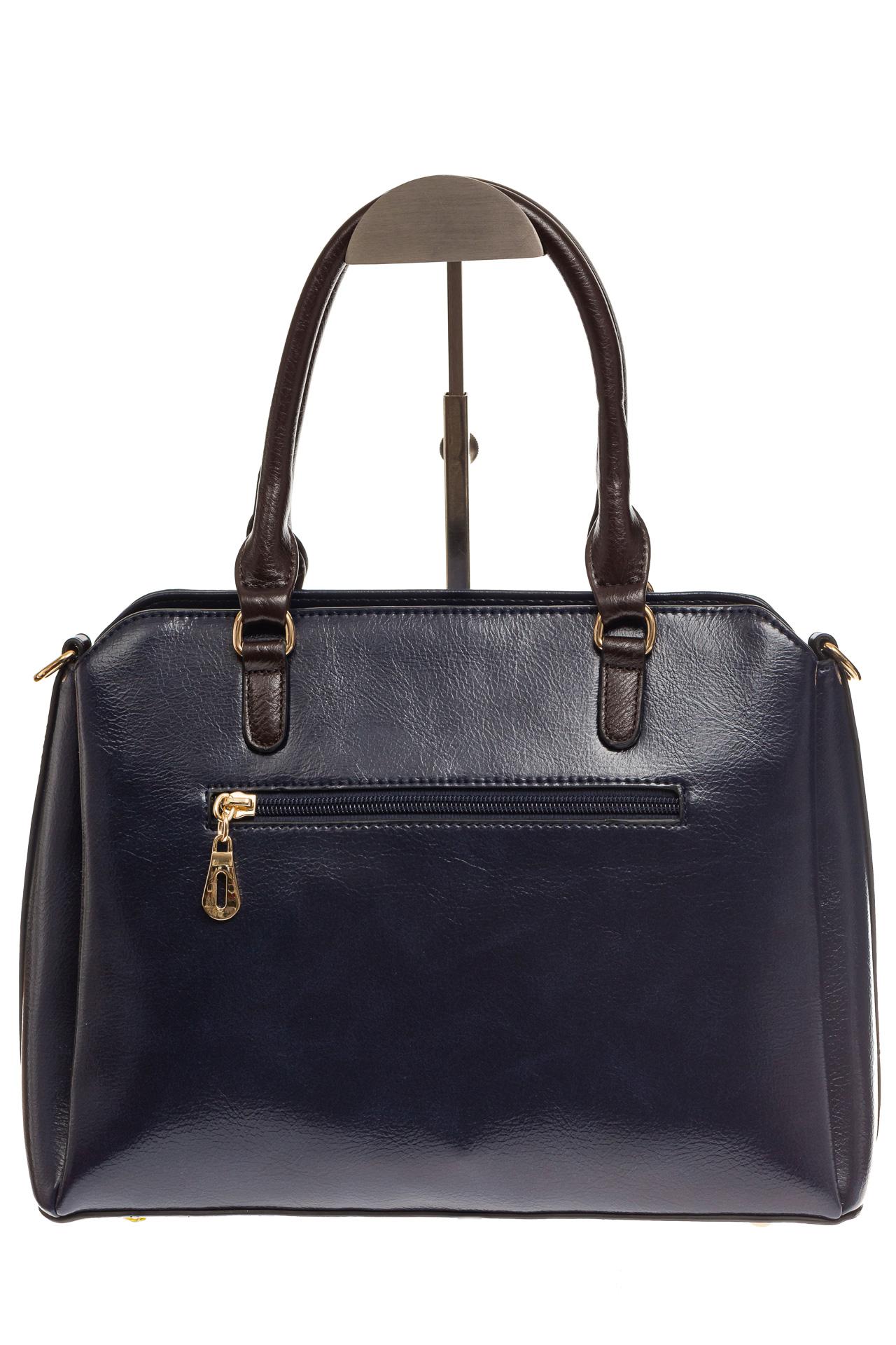 На фото 3 - Строгая женская сумка из искусственной кожи, цвет синий