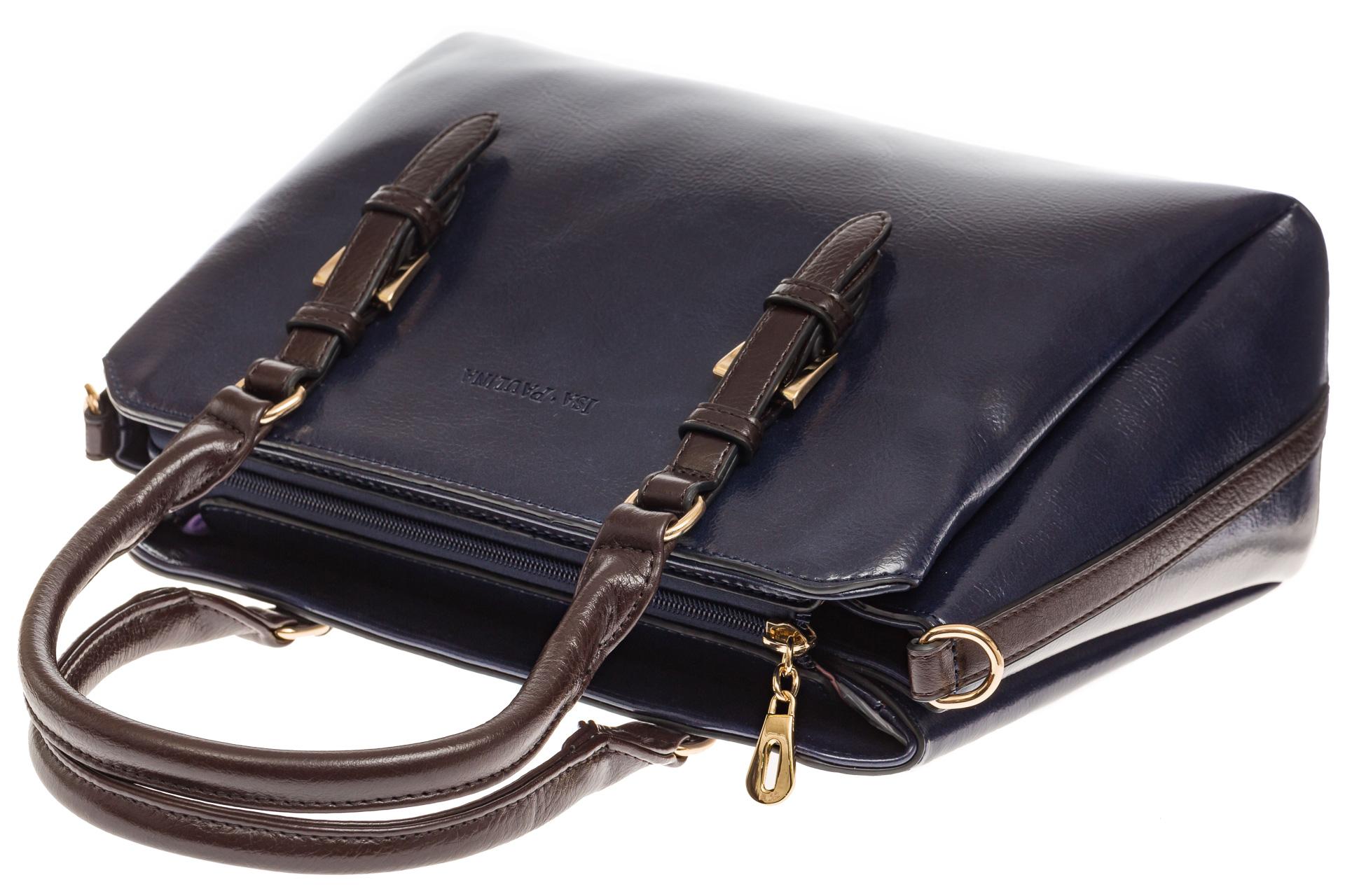 На фото 4 - Строгая женская сумка из искусственной кожи, цвет синий