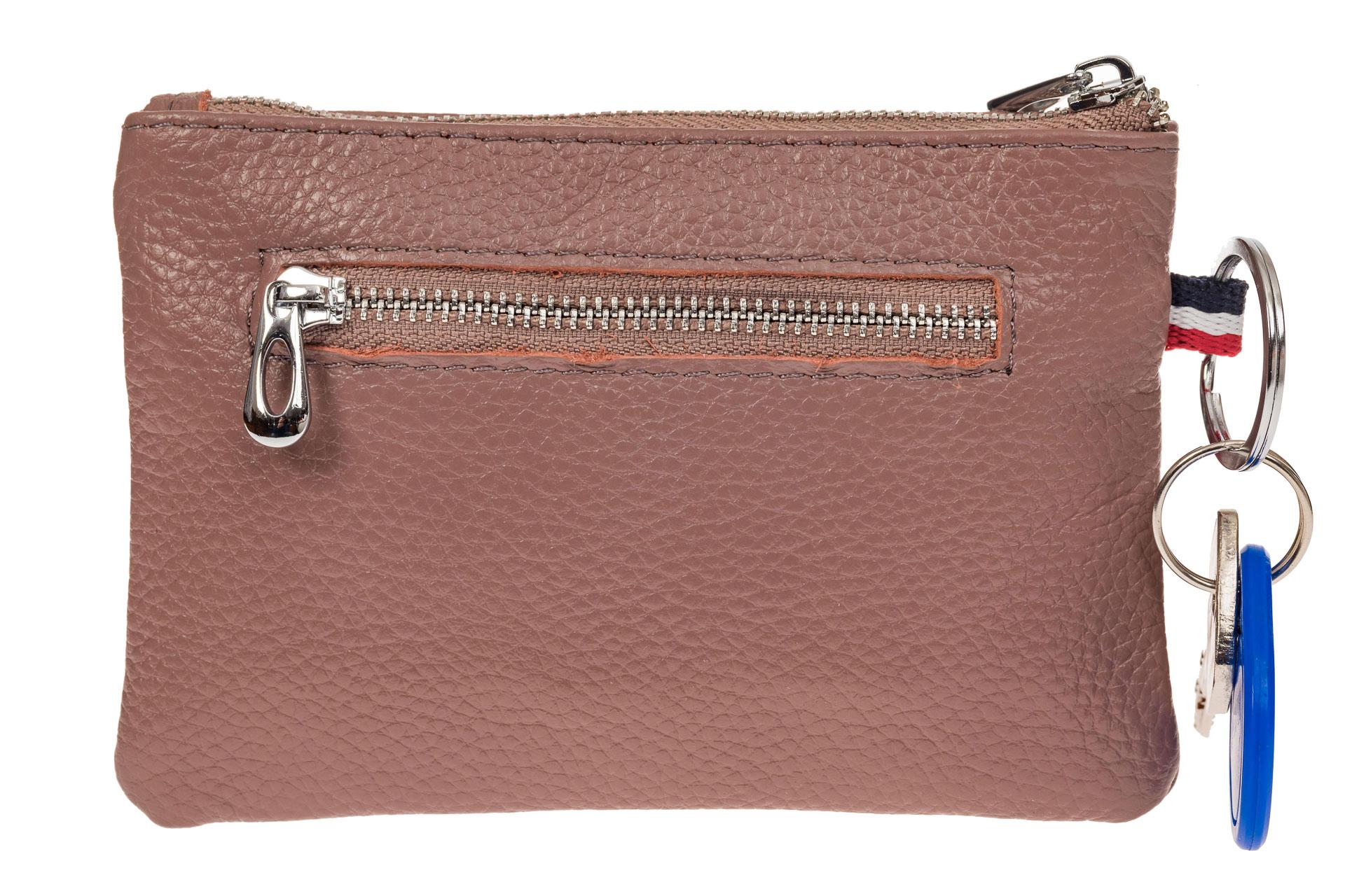 На фото 2 - Ключница-портмоне из натуральной кожи, цвет пудра