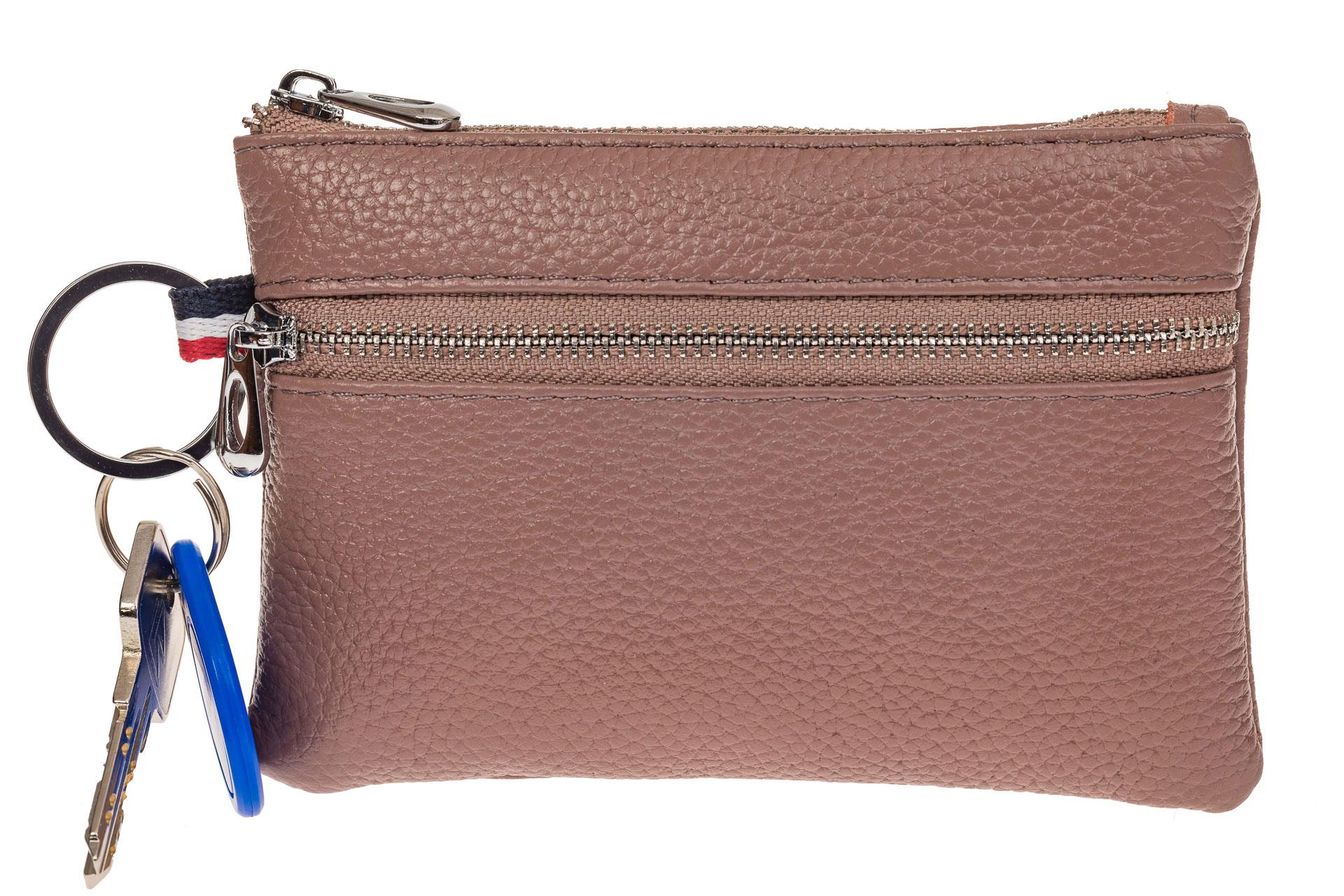 На фото 1 - Ключница-портмоне из натуральной кожи, цвет пудра