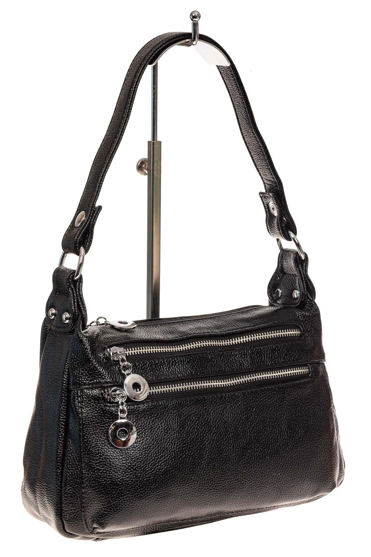 На фото 1 - Женская классическая сумка из искусственной кожи, цвет черный