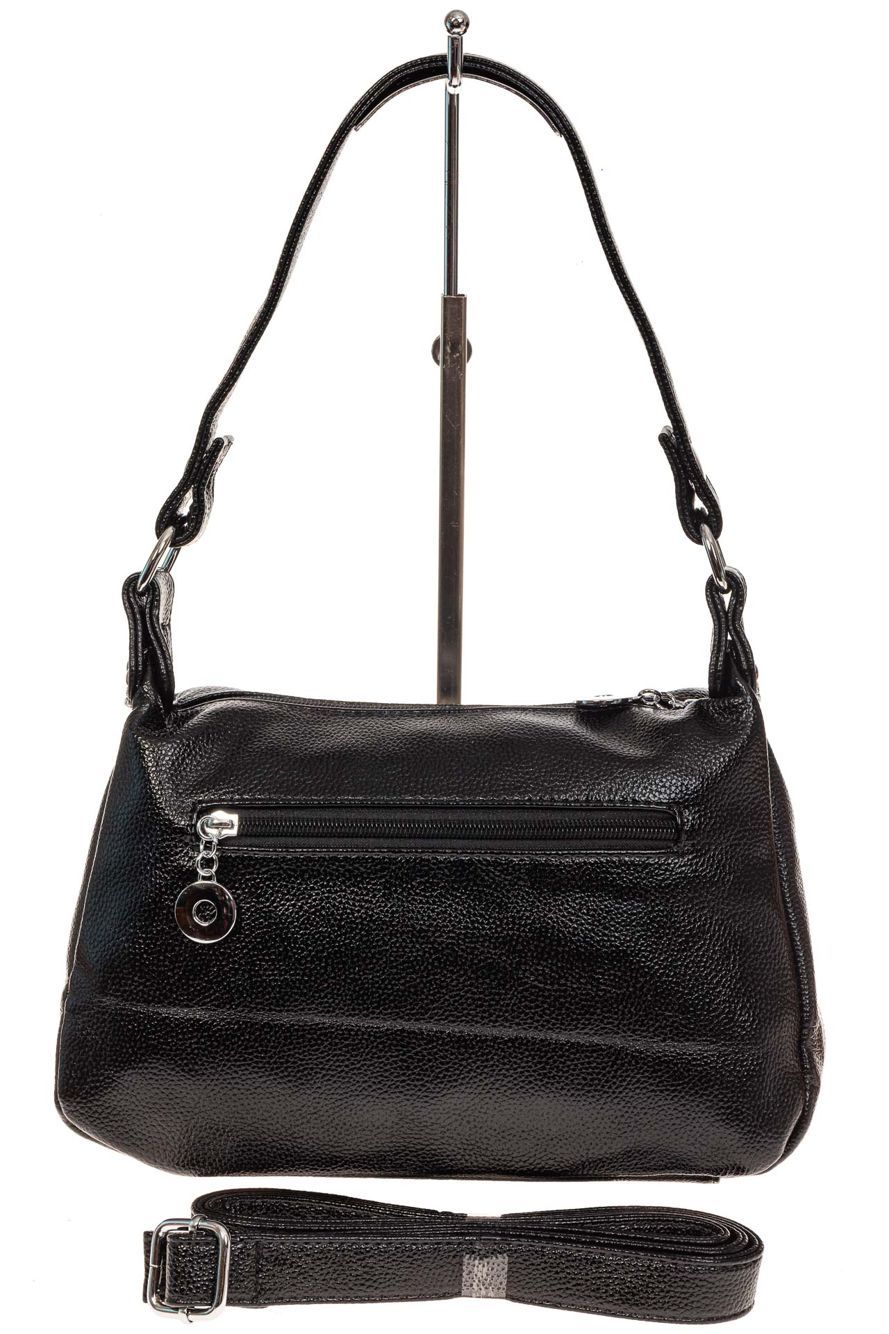 На фото 2 - Женская классическая сумка из искусственной кожи, цвет черный