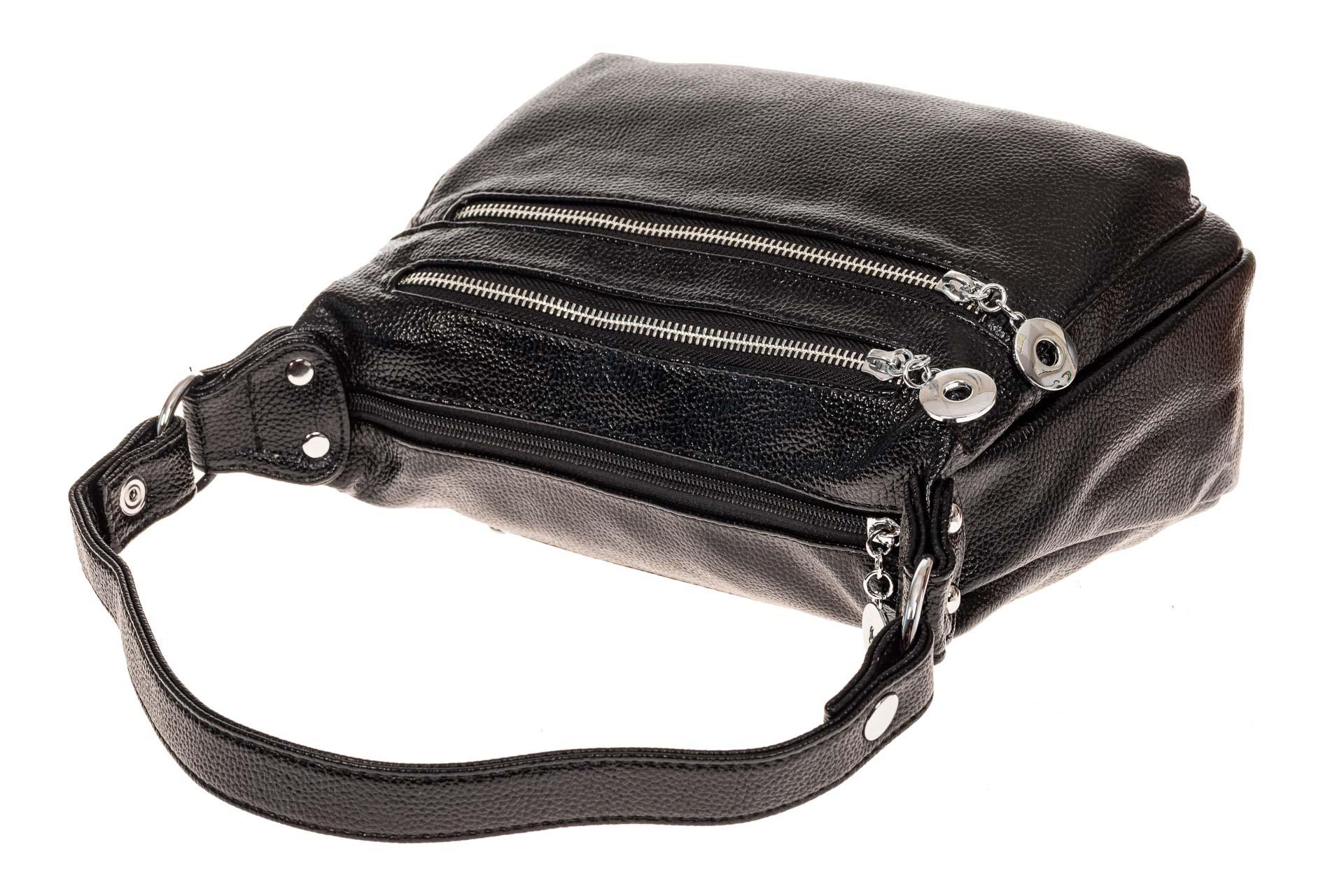 На фото 3 - Женская классическая сумка из искусственной кожи, цвет черный