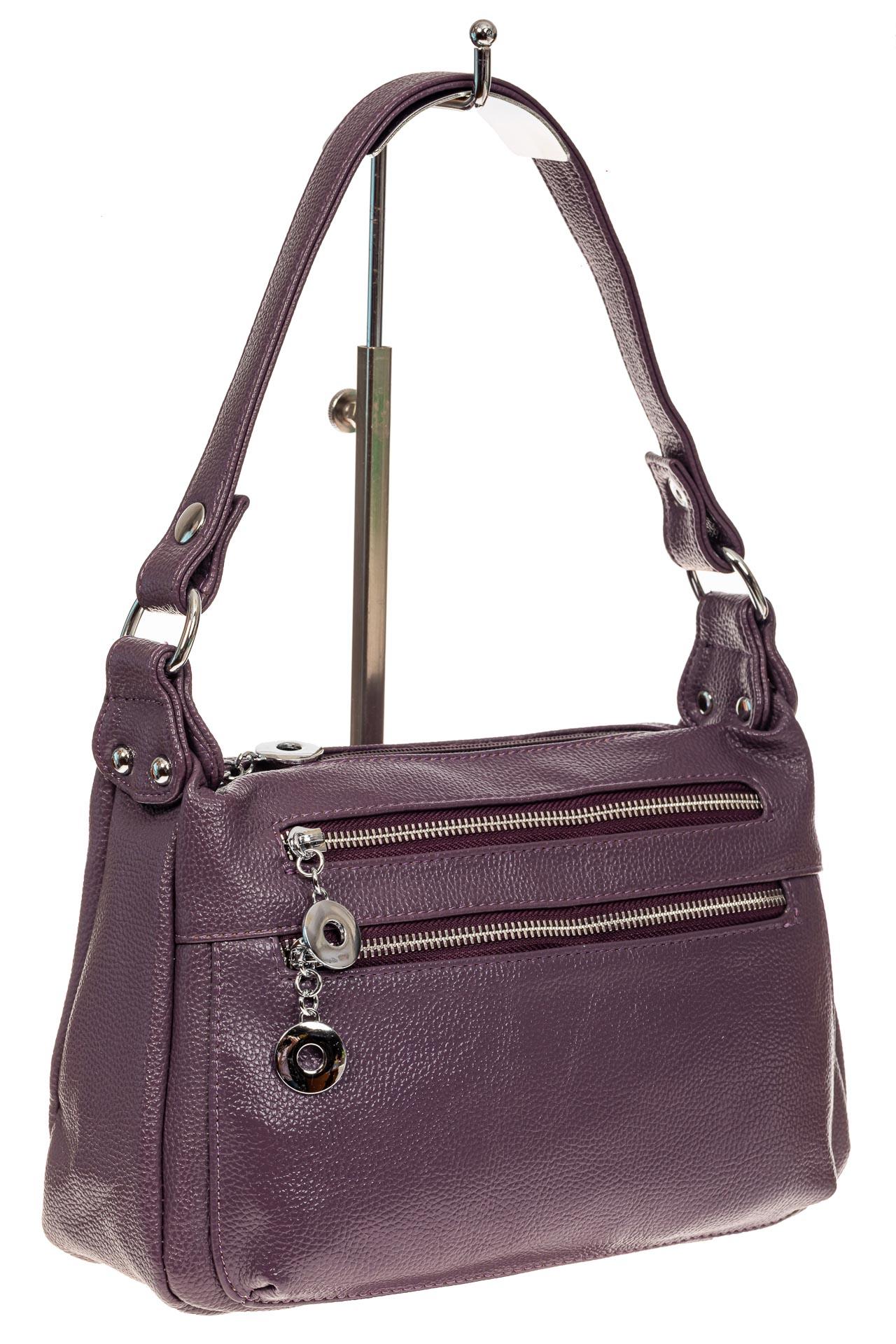 На фото 1 - Женская классическая сумка из искусственной кожи, цвет сирень