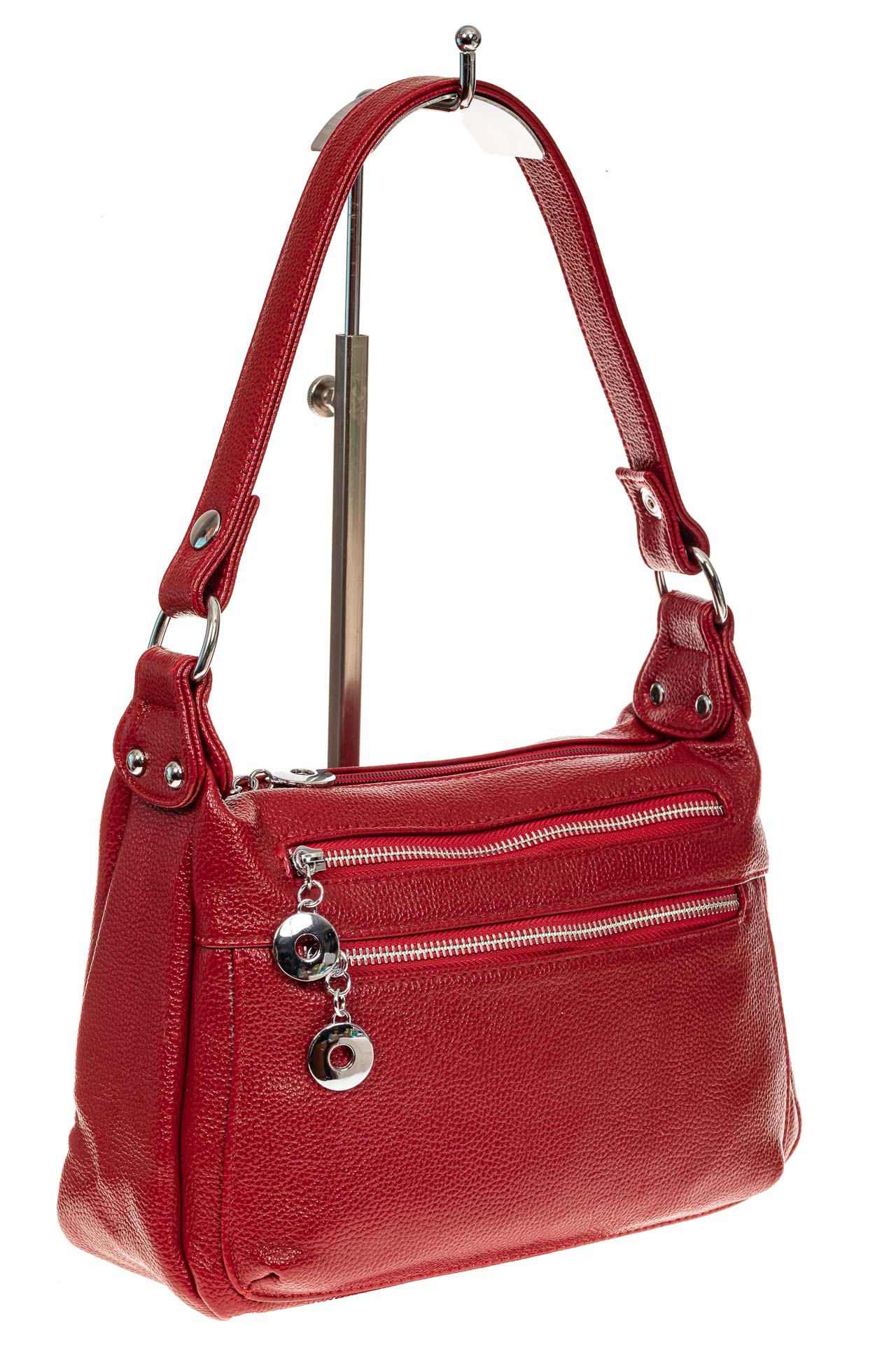 На фото 1 - Женская классическая сумка из искусственной кожи, цвет красный