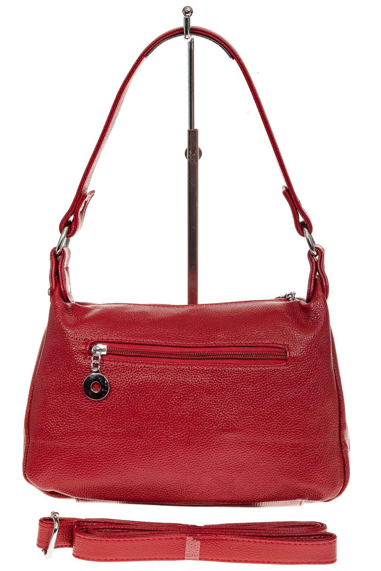 На фото 2 - Женская классическая сумка из искусственной кожи, цвет красный