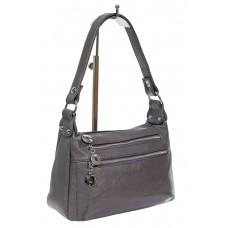 На фото 1 - Женская классическая сумка из искусственной кожи, цвет серый