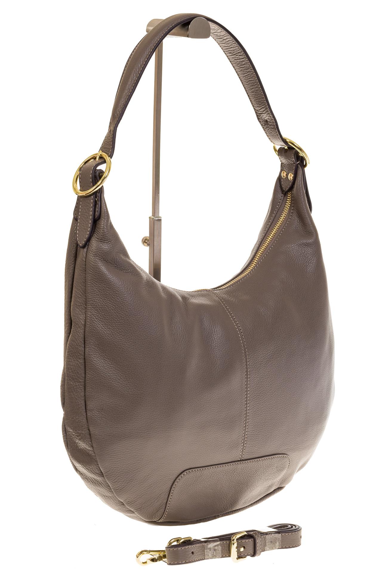 На фото 1 - Классическая женская сумка Хобо серого цвета 1723