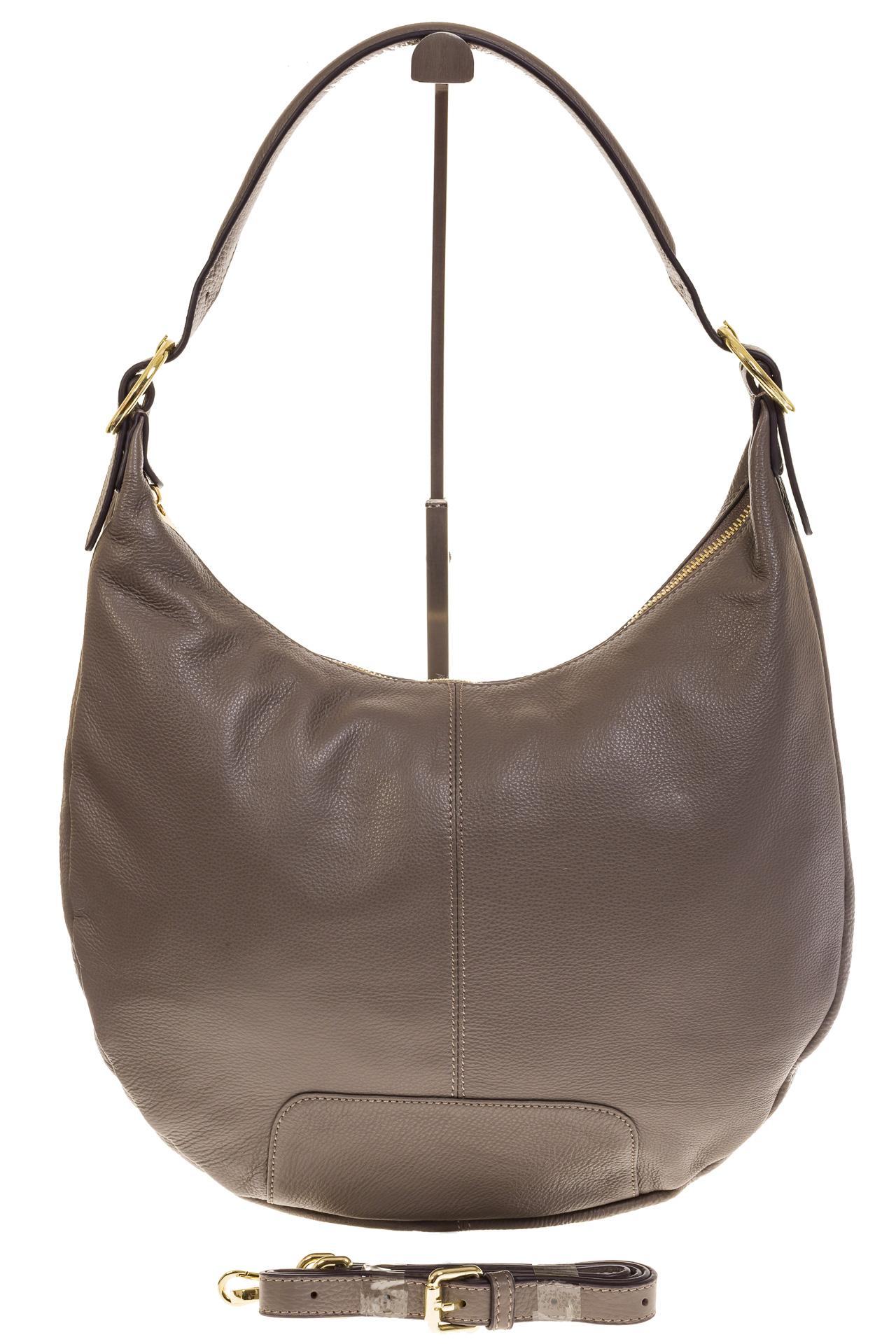 На фото 2 - Классическая женская сумка Хобо серого цвета 1723