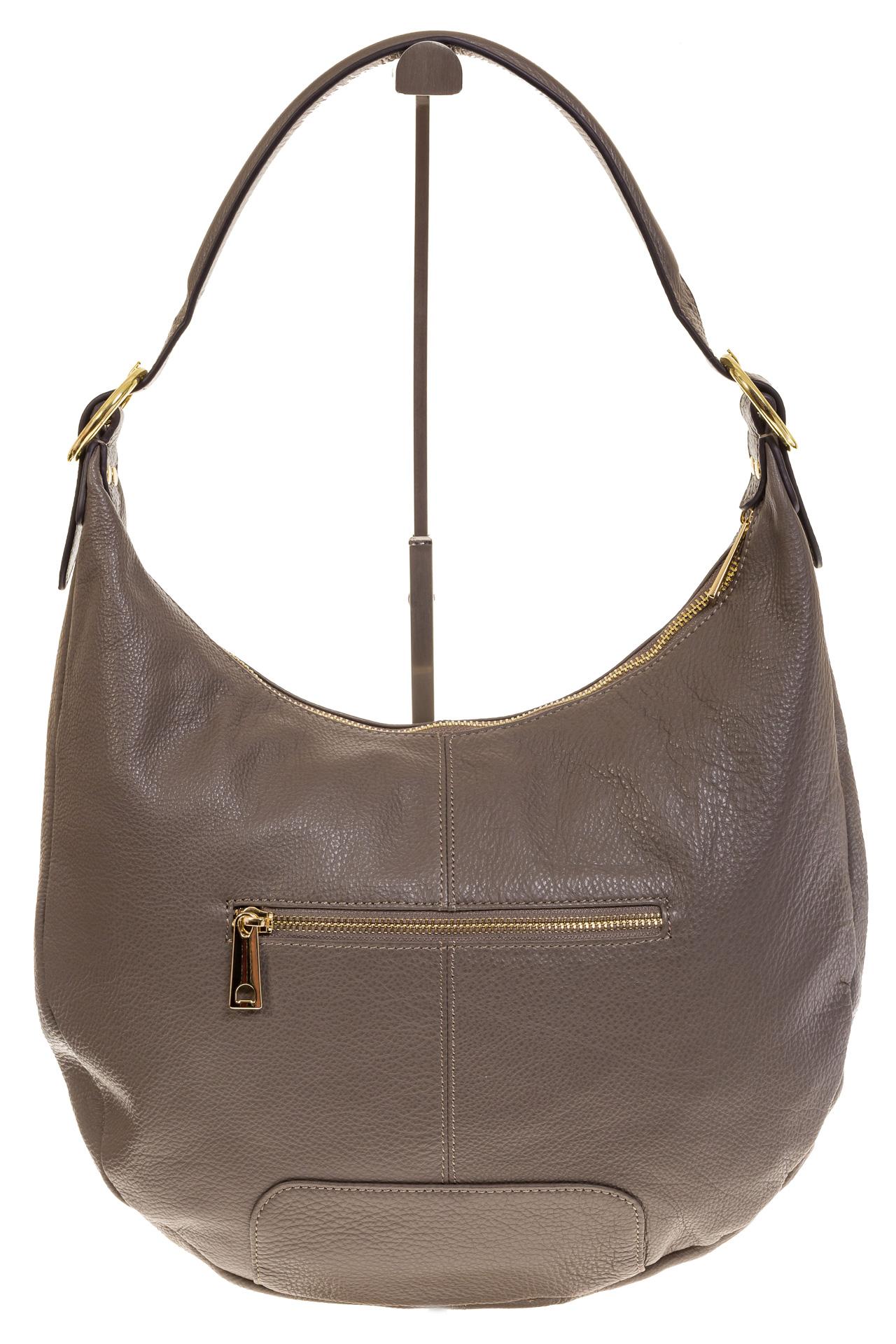 На фото 3 - Классическая женская сумка Хобо серого цвета 1723