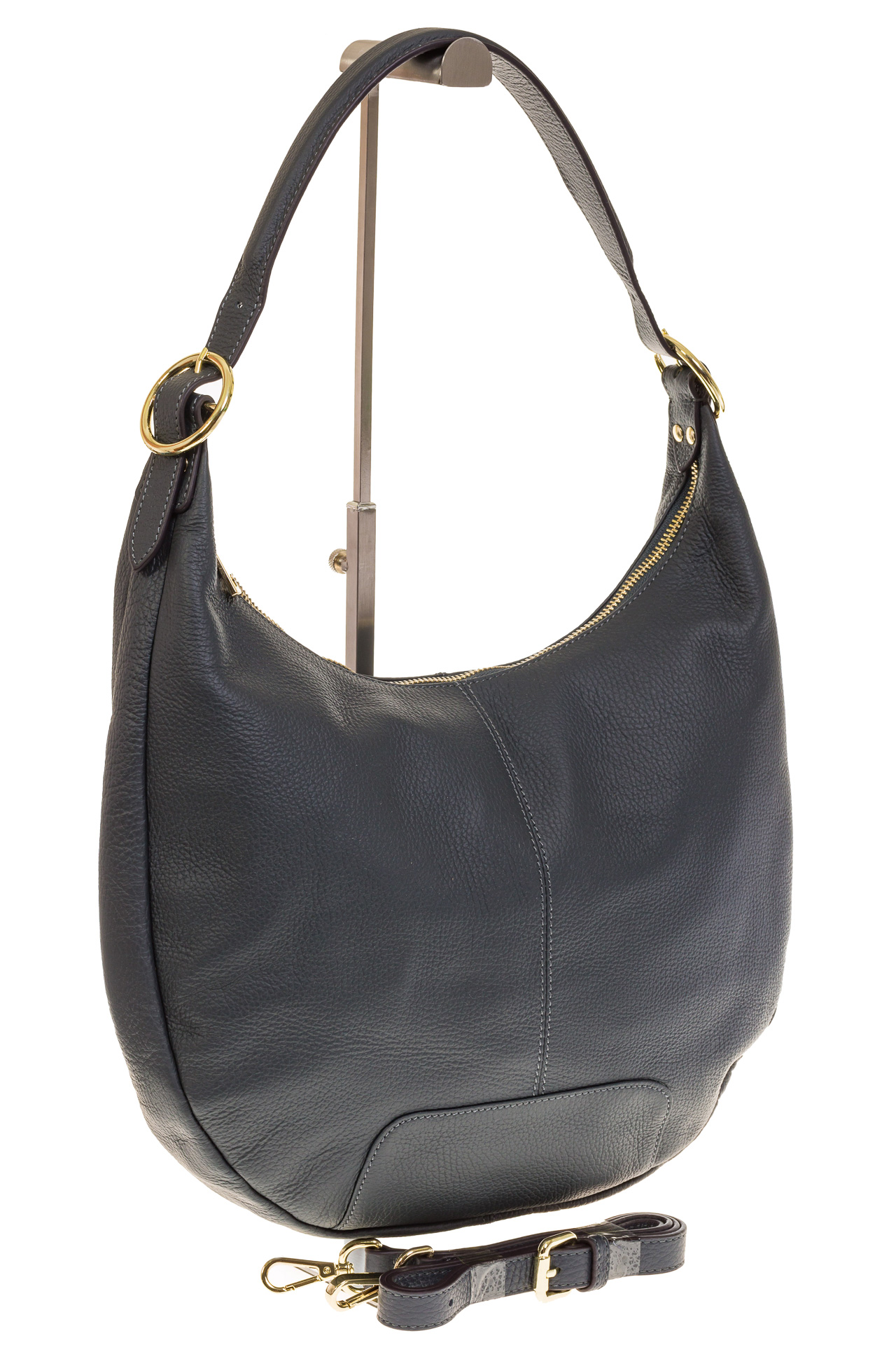 На фото 1 - Классическая женская сумка Хобо сине-серого цвета 1723
