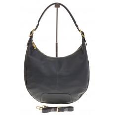 На фото 2 - Классическая женская сумка Хобо сине-серого цвета 1723