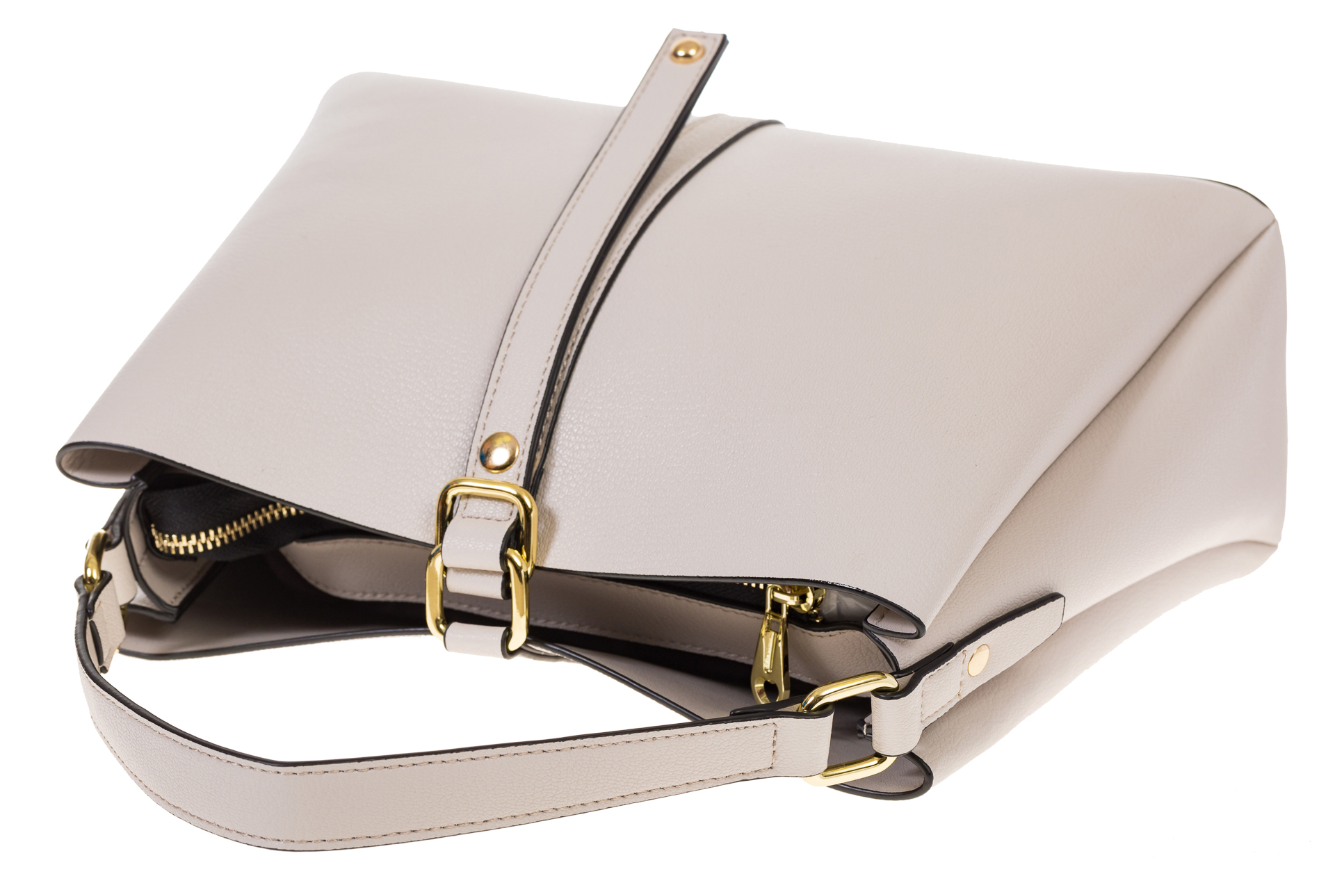 На фото 4 - Белая сумка-трапеция из кожи 1771AK