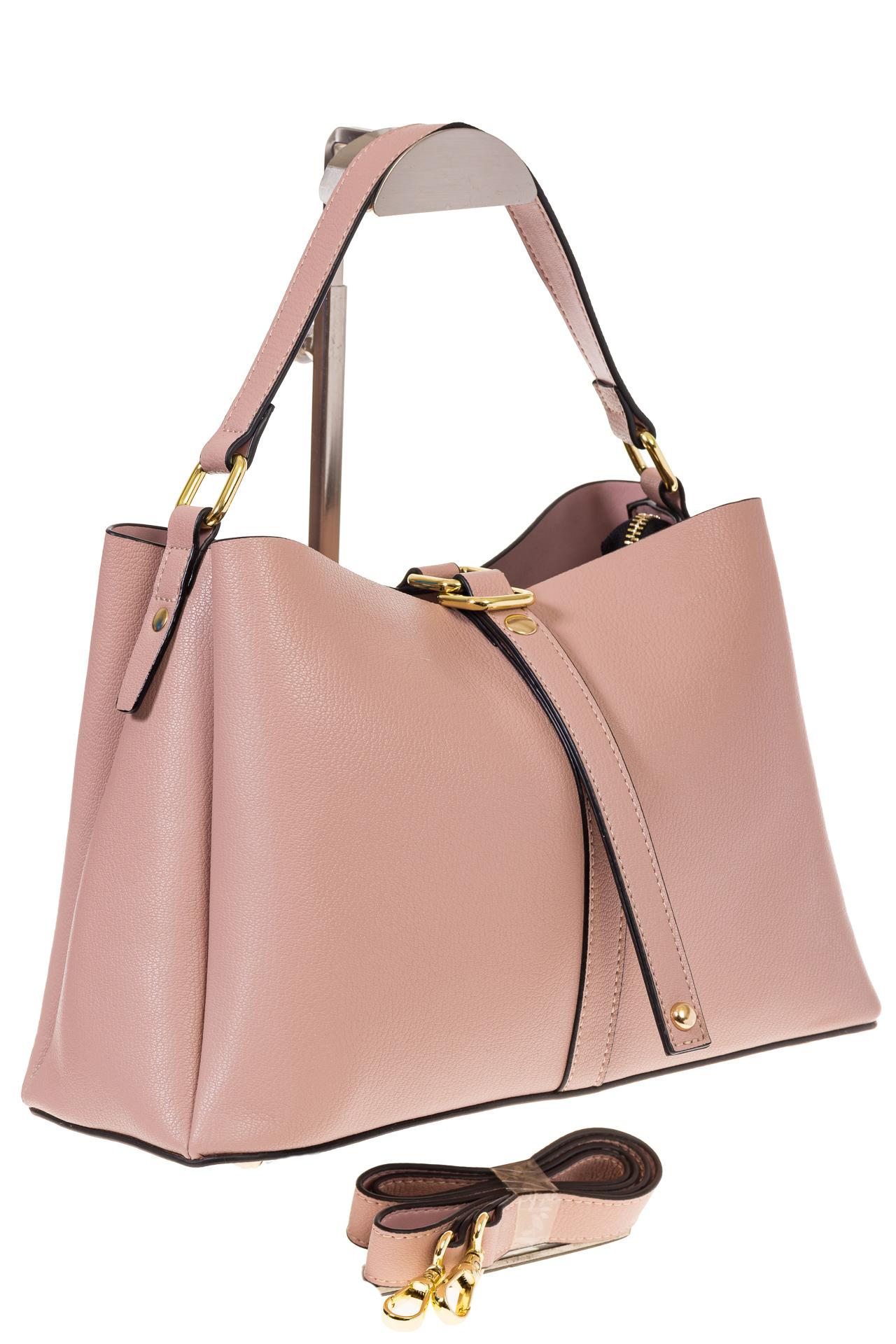 на фото Розовая сумка-трапеция из кожи 1771AK