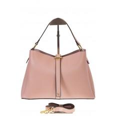 На фото 2 - Розовая сумка-трапеция из кожи 1771AK