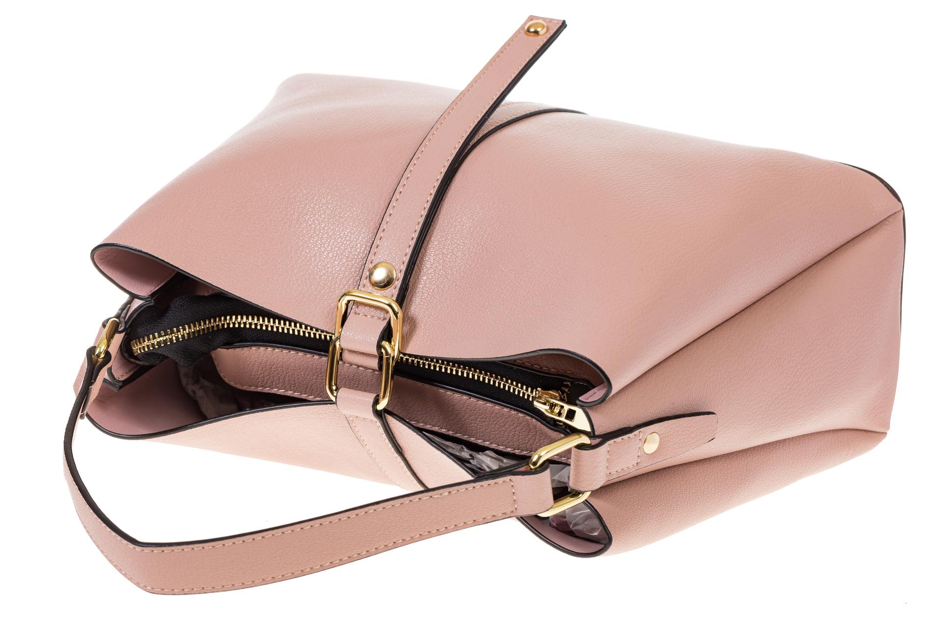 На фото 4 - Розовая сумка-трапеция из кожи 1771AK