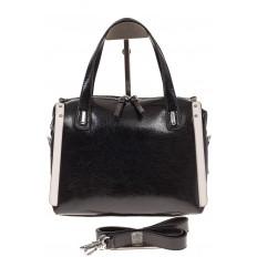 На фото 2 - Черная глянцевая кожаная сумка 1791AK
