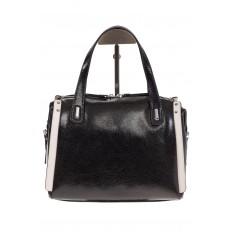 На фото 3 - Черная глянцевая кожаная сумка 1791AK
