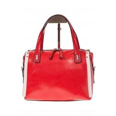 На фото 3 - Красная глянцевая кожаная сумка 1791AK