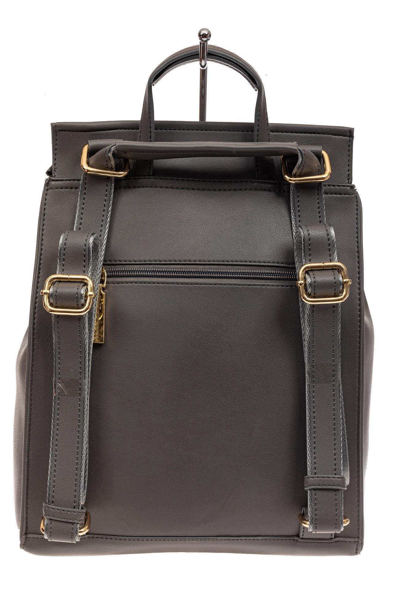 На фото 3 - Женский рюкзак-трансформер из искусственной кожи, цвет серый