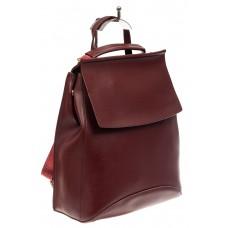 На фото 1 - Женский рюкзак-трансформер из искусственной кожи, цвет бордо