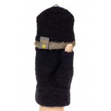 На фото 1 - Недорогие варежки-митенки женские вязаные, цвет черный