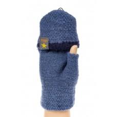 На фото 1 - Шерстяные перчатки без пальцев женские, митенки вязаные, цвет светло-синий