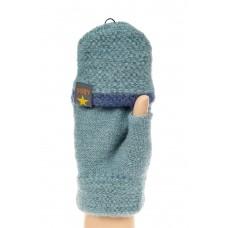 На фото 1 - Перчатки без пальцев женские, митенки вязаные, цвет серо-синий
