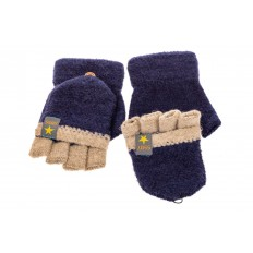 На фото 2 - Перчатки без пальцев женские, митенки вязаные, цвет синий