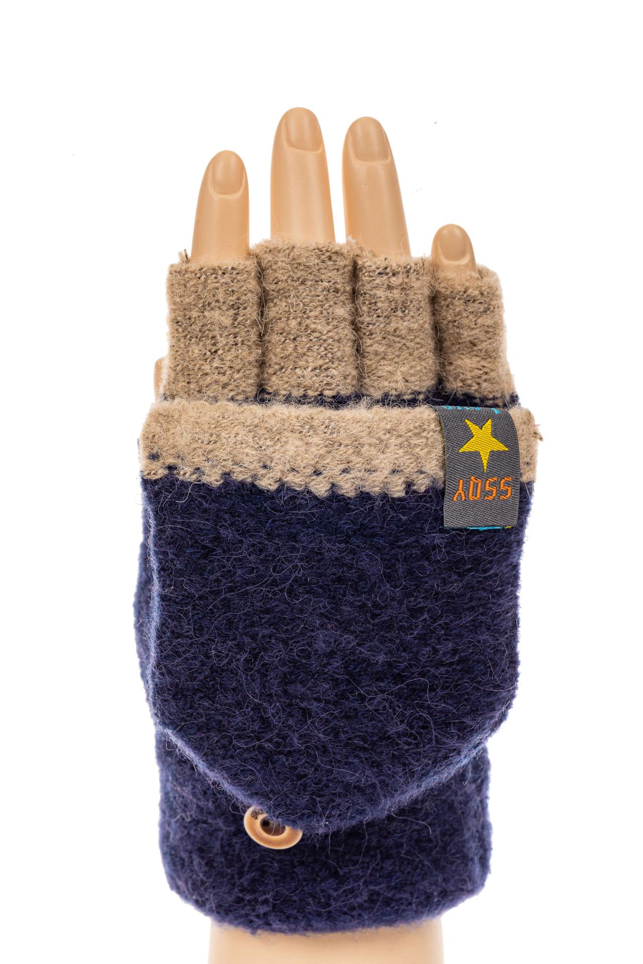 На фото 3 - Перчатки без пальцев женские, митенки вязаные, цвет синий